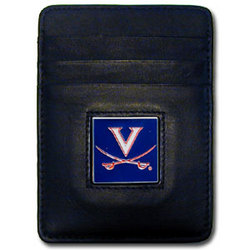 Virginia Cavaliers Leather Money Clip/Cardholder Packaged in Gift Box