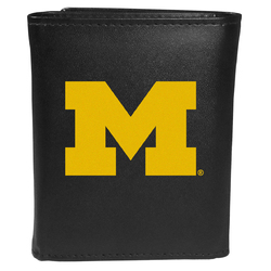 Michigan Wolverines Leather Tri-fold Wallet, Large Logo