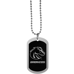 Boise St. Broncos Chrome Tag Necklace