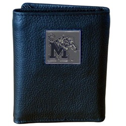 Memphis Tigers Deluxe Leather Tri-fold Wallet Packaged in Gift Box