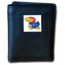 Kansas Jayhawks Deluxe Leather Tri-fold Wallet Packaged in Gift Box