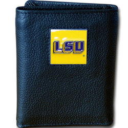 LSU Tigers Deluxe Leather Tri-fold Wallet Packaged in Gift Box