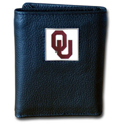 Oklahoma Sooners Deluxe Leather Tri-fold Wallet Packaged in Gift Box