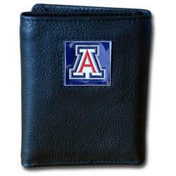 Arizona Wildcats Deluxe Leather Tri-fold Wallet Packaged in Gift Box