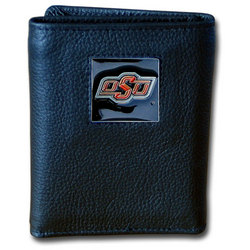 Oklahoma State Cowboys Deluxe Leather Tri-fold Wallet Packaged in Gift Box