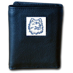 UCONN Huskies Deluxe Leather Tri-fold Wallet Packaged in Gift Box