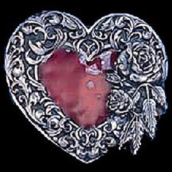 Heart Rose and Leaf Border Enameled Belt Buckle