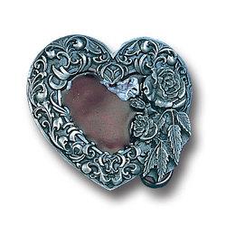 Western Heart/Rose Enameled Belt Buckle