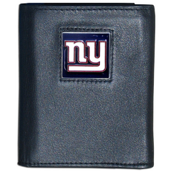 New York Giants Deluxe Leather Tri-fold Wallet Packaged in Gift Box
