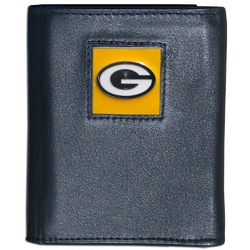 Green Bay Packers Deluxe Leather Tri-fold Wallet Packaged in Gift Box