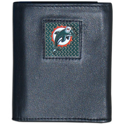 Miami Dolphins Gridiron Leather Tri-fold Wallet Packaged in Gift Box