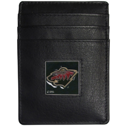 Minnesota Wild® Leather Money Clip/Cardholder Packaged in Gift Box