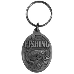 Fishing Antiqued Key Chain with Trout