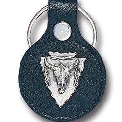 Leather Keychain - Buffalo Skull