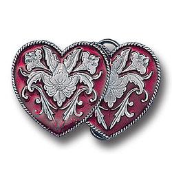 M-WEST. DOUBLE HEART ENAMEL