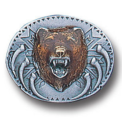 Grizzly Bear on Shield Lapel Pin