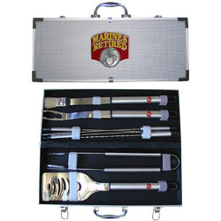 Category: Dropship Military, Patriotic & Firefighter, SKU #SBBQ19R, Title: Marines Retired 8 pc BBQ Set w/Case