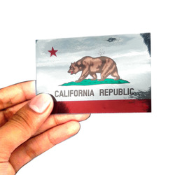 California Republic  Flag Chrome Sticker