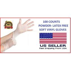 100 PCS BOX POWDER &LATEX FREE -FOOD GRADE NO-STERILE LARGE VINYL GLOVES