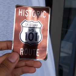 Historic Route 101 Laminated Chrome Sticker
