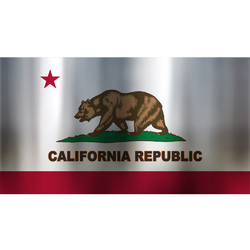 California Republic flag Chrome Sticker Decal