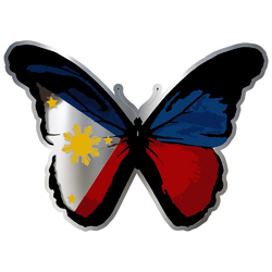 Butterfly Philippine flag Chrome Sticker Decal