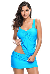 Blue Solid Ruched 2pcs Tankini Skirted Swimsuit