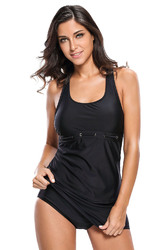 Black Racerback Tankini 2pcs Skort Swimsuit