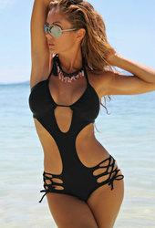 Black Strappy Crisscross Cut out Monokini