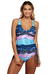 Summer Waves Cross Back Tankini Tie Side Swimsuit