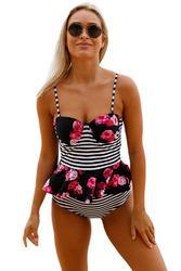 2pcs Floral Print Striped Flounce Tankini Swimsuit