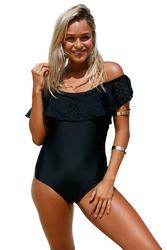 Black Flounce Off Shoulder One Piece Swimsuit