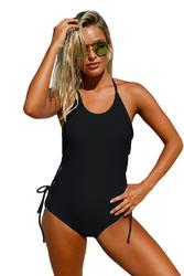 Black Halter Neck Lace up Sides Monokini