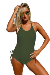 Army Green Halter Neck Lace up Sides Monokini