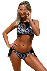 Black Lace High Neck Tankini