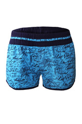 Blue Individual Handwriting Print Swim Shorts