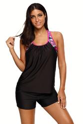 Black Blouson Style Floral T-back Tankini Top