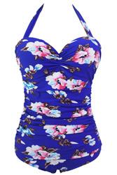Floral Print Royal Blue Retro One Piece Swimsuit
