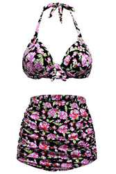 Floral Print Black Retro High Waist 2 Pieces Swimsuits