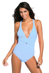 Light Blue Self Tie One Piece Swimsuit