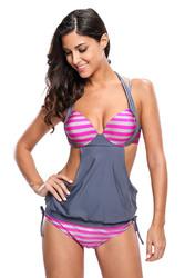 2pcs Solid Grey Splice Striped Halter Tankini Swimsuit