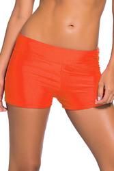 Orange Wide Waistband Swimsuit Bottom Shorts