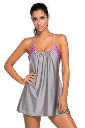 Grey Flowing Swim Dress Layered 1pc Tankini Top