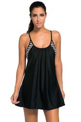Black Flowing Swim Dress Layered 1pc Tankini Top