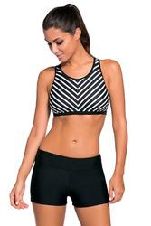 Black Stripe Patten Sport Bra Swim Trunk 2pcs Swimsuit