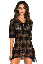 Black Swim Crochet Kaftan Cover Up