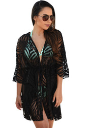 Black Animal Print Drawstring Cover Up Dress