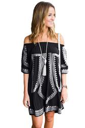 Black Bohemian Vibe Geometric Print Off The Shoulder Beach Dress