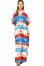 Multicolored Tie Dye Print Kaftan Maxi Dress