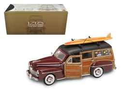 1948 Ford Woody With Wood And Surfboard Burgundy